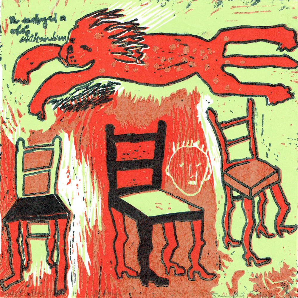 Sandy Sykes - Red Boots Musical Chairs - woodcut